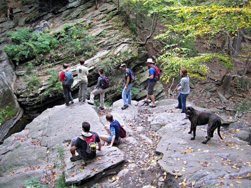 Kutztown University Geology Club students hiking at             Wissahickon Gorge